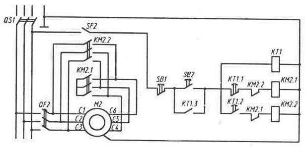 Схема пуска двигателя включением на пусковую схему звезда и с переключением на рабочую схему треугольник показана на...